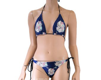Blue Floral Skull Bikini Bra Top Bottom Tie Waisted Rave Set MTCoffinz - Choose Size (Separates available)