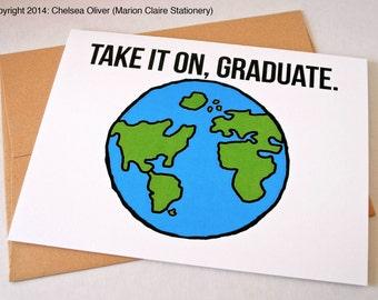 Carte de Graduation mignon - prenez-le sur, diplômé de