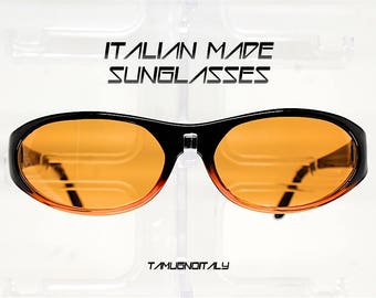 Occhiali da sole uomo vintage stile rettangolare ovale nero lente arancio, sunglasses man oval rectangular black orange lens Made in Italy