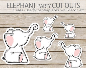 Pink Elephant Party Decoration - Instant Printable Download - Elephant Cut Outs - Elephant Baby Shower cut outs - toppers - favors - 3 sizes
