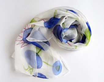 Hand painted silk scarf Unique silk scarf,Painted silk scarfs,White and blue scarf,Ladies scarves,Summer scarves,Silk scarves AnaSilkDesign