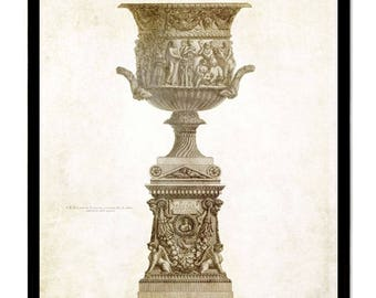 2 Set Large Classic Urn and pedestal art prints. Impressive beautiful wall art home & office decor, great gift. Sizes  18x24 or 11x14  inch!