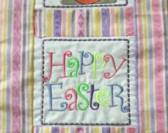 Easter Wall Hanging Bunny & Chick Embroidered Wall Decor Spring Happy Easter