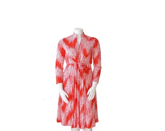 1970s Dress L / XL • 70s Red and White Op Art Dress
