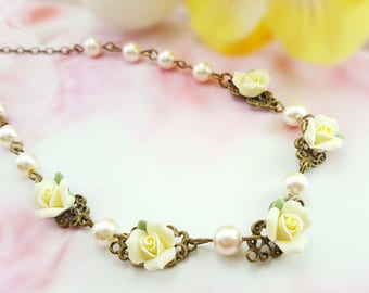 Yellow Rose Necklace - Pearl Victorian Necklace - Swarovski Pearl Necklace Cream - Yellow Flower - Rose Pearl Necklace Floral Bridal S1052