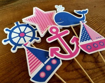Nautical Birthday Party - Set of 12 Double Sided Assorted Pink & Navy Nautical Cupcake Toppers by The Birthday House