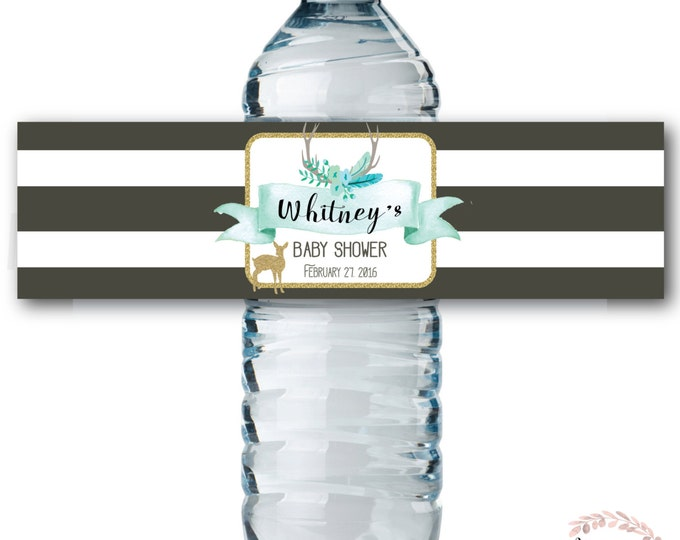 Water Bottle Labels // Oh Deer // Fawn // Water Wrap // Baby Shower // Gray // Blue // Mint // Printed or Printable // OXFORD COLLECTION