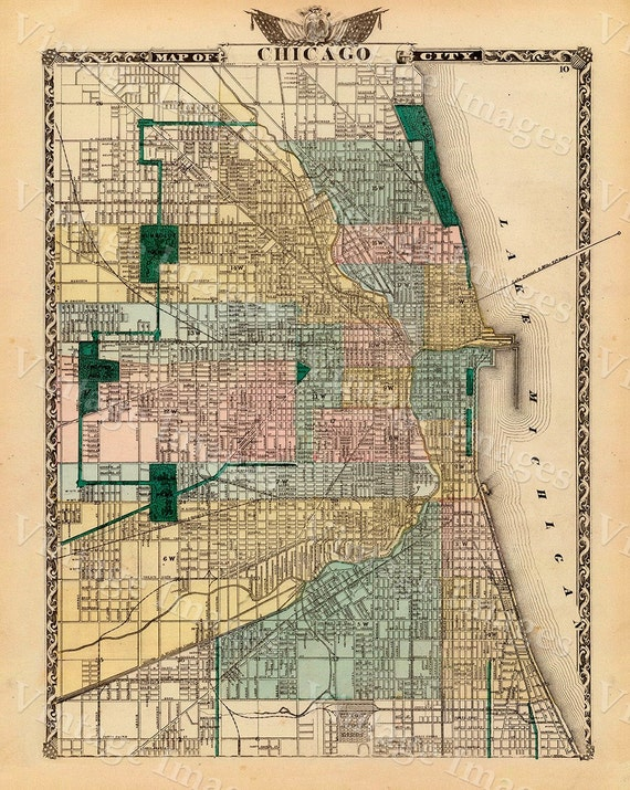 "Vintage Map of Chicago, 1857 Chicago Illinois map Antique Chicago Map Restoration decorator Style Map up to 43"" x 54"" Old Chicago Wall map"