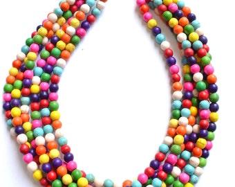 Michelle- Multi Color Magnesite Bridesmaid Statement Necklace