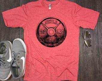 Hustle Weight Plate mens workout shirt, mens gym shirt, workout shirt, motivational shirt, motivational workout shirt, workout shirt for men