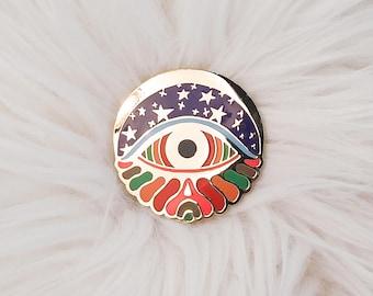 Psychedelic Starry Eye Enamel Pin- Cloisonne Pin, Eye Enamel Pin, Rainbow, Moon and Stars, Eye, Hard Enamel Pin, Evil Eye