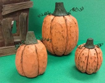 Set of Three Hand carved Pumpkins