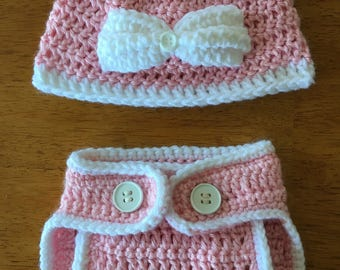 Crocheted Baby Girl Hat and Diaper Cover Set