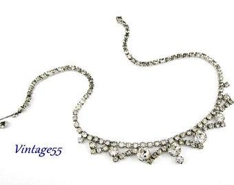 Rhinestone Necklace Clear Silver tone Vintage