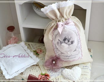Lovely beige cotton canvas purse and his angels appliqué embroidered