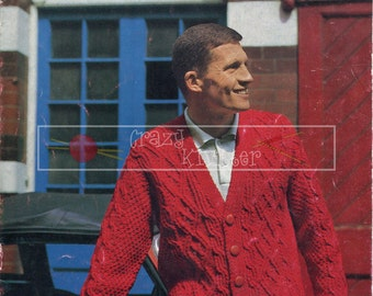 Men's Cable Jacket Chunky 36-46ins Sirdar 2063 Vintage Knitting Pattern PDF instant download