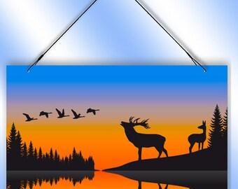 Wilderness Deer Sunrise Decorative Window Sun Catcher from Redeye Laserworks
