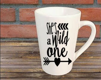 She's a Wild One Mug Coffee Cup Gift Home Decor Kitchen Bar Gift for Her Him Jenuine Crafts