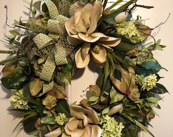 Front Door Wreath, Magnolia Wreath, Fall Wreath, Summer Wreath, Winter Wreath, Artificial Wreath, Spring Wreath,