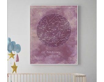 Nursery Art, Custom Star Map, Nursery name sign, Nursery Wall Art, Nursery Decor, Baby Shower Gift, Kids Room Decor, New Mom Gift