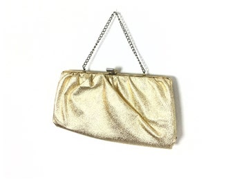 Gold Clutch, Gold Bag, Gold Purse, Gold Clutches, faux leather, Vintage Gold Clutch, Gold Evening Bag, Gold Formal Bag, 1960s, 60s