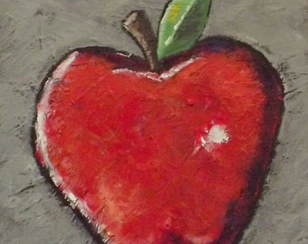 Red Apple Painting Series 2, Manzana, Fruit, Acrylic, Original Art, Mechelledesigns, Whimsical painting, home decor,