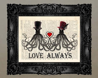 """Dictionary Print: -  """"Mr & Mrs Octopus Love"""" - upcycled book page, nautical, Valentines Day Gift, steampunk, Wedding gift"""