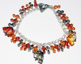 Swarovski Skull Bracelet in Halloween Colors