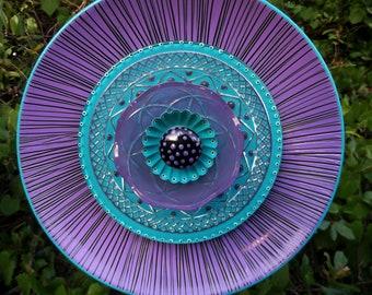 Purple Haze  Hand Painted Glass Garden Plate  Flower Yard Art Sculpture