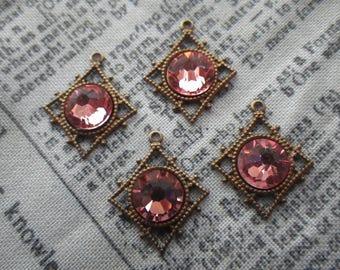 Rose Peach Swarovski SS34 7mm Crystal Pagoda Drops 4 Pcs