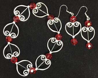 Red Hearts Silver Bracelet