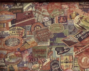 BTY Eclectic Elements TRAVEL LABELS Print 100% Cotton Quilt Crafting Tim Holtz Fabric by the Yard