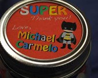 Superhero sticker labels