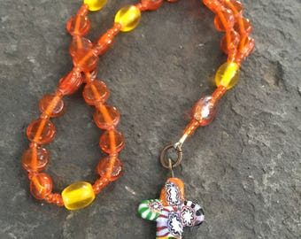 Anglican Rosary  Protestant Prayer Beads  Episcopal Rosary  Millifiori Cross  Orange and Yellow Glass Bead