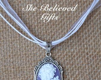 Pretty in Purple! Romantic Cameo Necklace