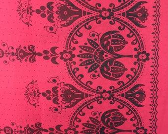 Red chiffon black border print fabric