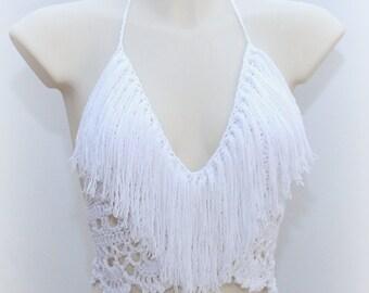 White crocheted fringe halter top, retro fashion, summery vibrancy, musthave summer 2018, big size bra, fringe frenzy, hippie girl