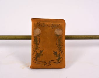 """Leather Bound Book, The """"Sketch Book"""" by Washington Irving, 1800s Book, Limp Structure Book, Rustic Book, Soft Cover Book,Antique Book"""