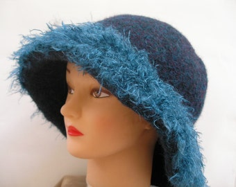 Felted Turquoise Hat, Felted Hat with Fuzz Trim