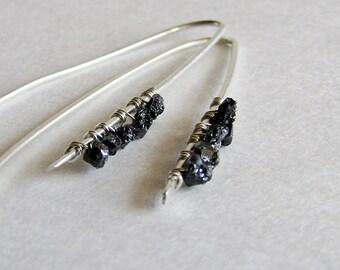 Raw Black Diamond Earrings - Raw Gemstone Jewelry - Rough Black Diamond - Gift under 100 - Christmas Gift for her