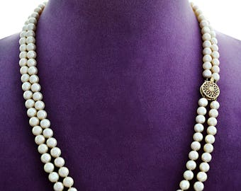 "Sumptuous Estate 2 Strand 6.25mm Luminous Cultured A AKOYA PEARLS Necklace  21&22"" 14K Clasp"