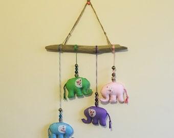 Baby Elephant Mobile, New Baby Gift, Baby Mobile, Elephants, Driftwood