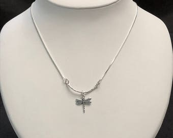 Delicate Sterling Silver Necklace with a Dragonfly Charm