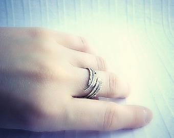 Feder-Wickel-Ring, Sterling Silber Feder Ring, verstellbarer Ring, resizable Silberring