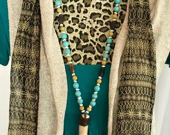 Turquoise, Bone & Wood Bead Necklace