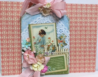 Secret Garden Large Layered Tag Graphic 45 Shabby Chic Style
