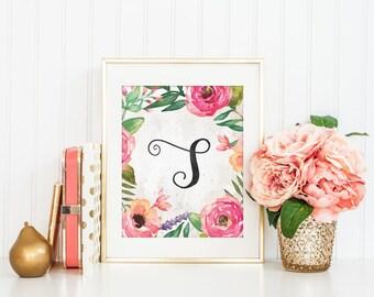 Printable S Letter , Monogram, Nursery Decor, Watercolor flower, Floral Alphabet, Calligraphy Monogram, Nursery print, Initial Letter, B074