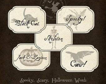 Spooky, Scary, Halloween Words Printable 16 designs  Digital Download