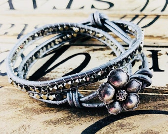 Silver Wrap Bracelet, Silver Flower Leather Bracelet, Women Boho Silver Bracelet, Gift for Her, Birthday Gift for Mom