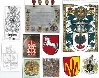 Heraldry Clip Art, Clipart, Collage Paper, Scrap Paper Pack, Paper Ephemera for Paper Arts, Collage, Scrapbooking, Decoupage PSS 3385